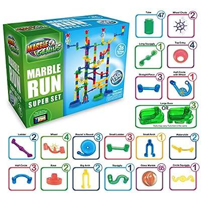 Marble Genius Marble Run Super Set - 150 Complete Pieces + Free Instruction App (85 Translucent Marbulous Pieces + 65 Glass Marbles): Toys & Games