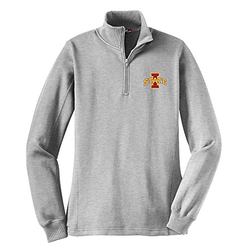 Campus Merchandise NCAA Iowa State Cyclones Women's 1/4 Zip Pullover, Large, Athletic Heather