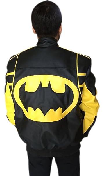 Moda Hombre de Batman funda de piel chaqueta color negro: Amazon.es: Ropa y accesorios
