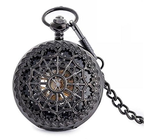 Infinite U High-end Skeleton Cool Spiderweb Big Steel Black Mechanical Pocket Watch