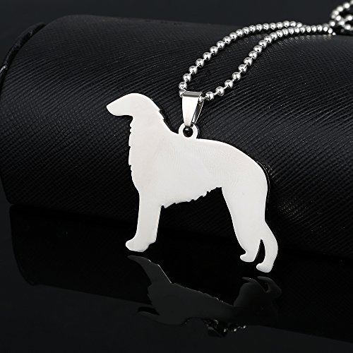 Dog Borzoi Necklace - Stainless Steel Borzoi Russian Wolfhound Psovoi Dog Pet Dog Tag Breed Collar Charm Pendant Necklace