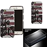 Harley Davidson iPhone 6s, iPhone 6 Semi Rigid TPU Motorcycle and Flag Cover with Tempered Glass Screen Protector.