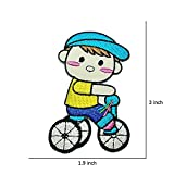 R2K 2Pcs. Cute Boy Ride Bicycle Patch Kid Patch DIY Embroidered Sew Iron on Patch