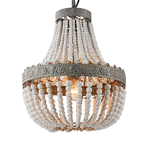 Newrays Wood Bead Chandelier Pendant Gray White Finishing Retro Vintage Antique Rustic Kitchen Ceiling Lamp Light Fixtures