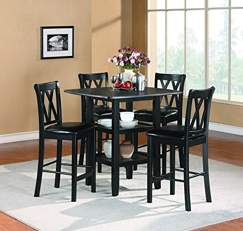 Homelegance Dining Table Set - Homelegance Norman 5-Piece Counter Height Dining Set with Two Display Shelves, Black