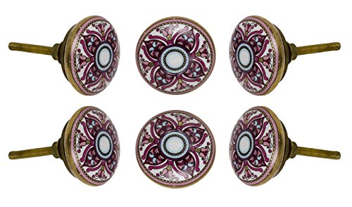 Set of 6 Ceramic Cairo Cabinet Drawer Knobs Premium Quality Cupboard Dresser Door Pull Decorative Furniture Hardware by - Dresser Set Painted