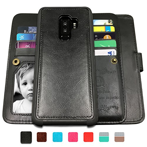 Galaxy S9 Plus Cases,Magnetic Detachable Lanyard Wallet Case with [8 Card Slots+1 Photo Window][Kickstand] for Galaxy S9 Plus, CASEOWL 2 in 1 Premium Leather Removable TPU Case(Black)