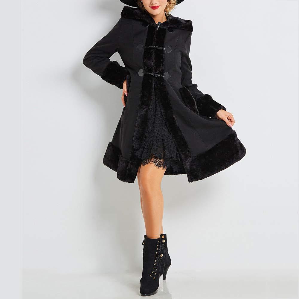 FNKDOR Manteau à Capuche Femmes Vintage Punk Gothique Noble Manteaux en  Laine Artificielle à Manches Longue avec Poche Hiver Chaud Trench Coat   Amazon.fr  ... 4b77f6144df