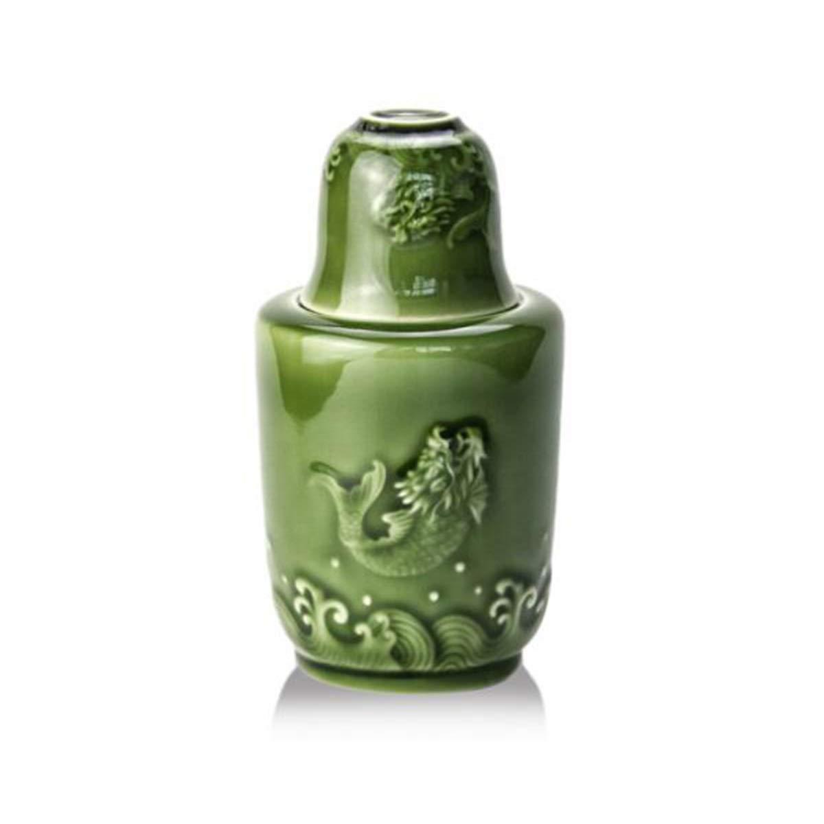 JINSHANDIANLIAO Flagon、ヒップフラスコ、ライブ陶器暖かいワイン製品、魚のジャンプガントリー暖かいワインスリーピースセット白ワインクーラー暖かいワインポット、青、緑 水差し (Capacity : 90ml, Color : Green) 90ml Green B07TQSZL2D