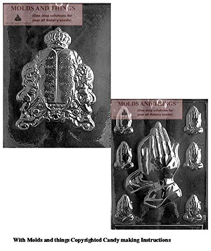 10 COMMANDMENTS Chocolate Candy Mold And Assorted Praying Hands Chocolate Candy Mold With Copywrited molding - Candy Molds Religious