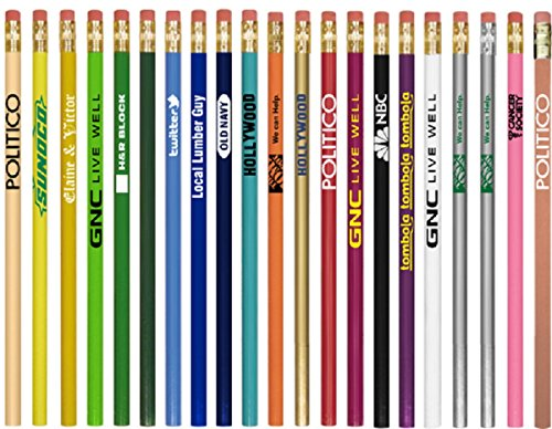 250 Personalized Round Wooden #2 Pencils with Your Company / School Logo or Message by Ummah Promotions