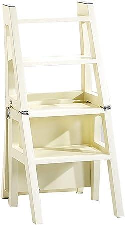 Sillas FEI Cómodo 4 Escalera de Madera Taburete Escalera de Madera Respaldo Plegable Escaleras Taburete Asientos Soporte Interior de Doble Uso Fuerte y Durable: Amazon.es: Hogar