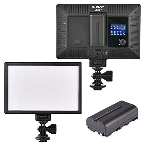 SUPON LED-L122T RA CRI95 Super Slim LCD Display Lighting Panel,Portable Dimmable 3300K-5600K LED Video Light Compatible Canon,Nikon,Pentax,Sony,Olympus Cameras&Camcorder,Shooting+NP-F550 Battery by SUPON