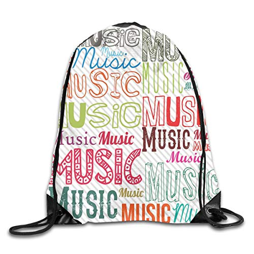Drawstring Backpacks Bags Daypacks,Music Typography In Various Styles Rhythm Acoustic Harmony Melody Funky Illustration,5 Liter Capacity Adjustable For Sport Gym ()