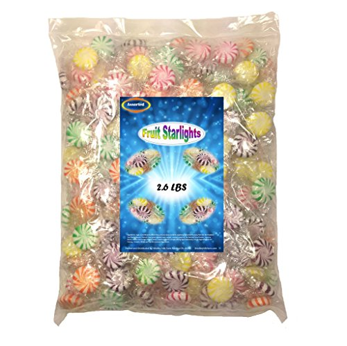 Assorted Fruit Starlights, 2.6 Lbs Individually Wrapped Hard Candy - Flavored Hard Candy