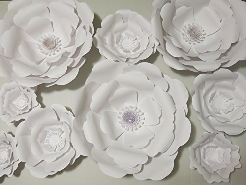 Set of 9 Giant Paper Flowers, Rose Wedding Photography Background, Bridal Shower Photo Backdrop, Extra Large Wall Flowers, Baby Nursery Floral Decor, Popular Home Decor Trend, Arch Cover 6-16'' Blooms by Always In Blossom