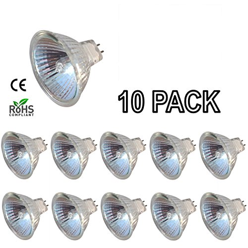 [10 Pack] Simba Lighting 50 Watt 12 Volt MR16 Halogen Light Bulbs 2-Pin GU5.3 Base with Cover Glass 12V 50W EXN Lamp Bi-Pin