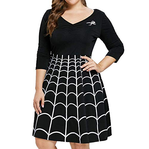 Women Halloween Party Cobweb Print Elastic Long Sleeves Knee Length Dresses -