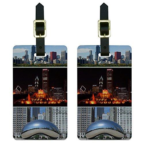 (Chicago - Bean Buckingham Fountain City Skyline Luggage Tags ID Set of 2)