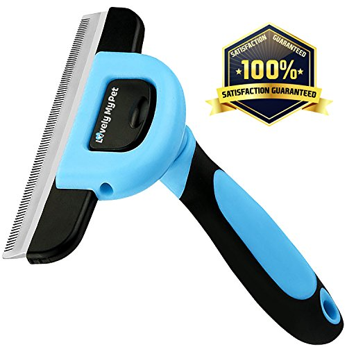 LovelyMyPet Dog Hair Grooming Brush Deshedding tool - Stainless Steel Safety Blade, Easy to Clean for Dramatically Reduce Shedding and slicker For Small, Medium And Large Pets (blue)