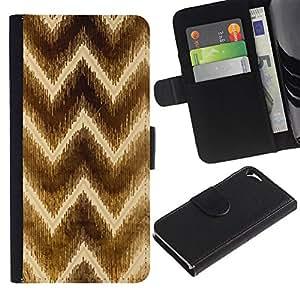 For Apple iPhone 5 / iPhone 5S,S-type® Chevron Brown Pattern Yellow - Dibujo PU billetera de cuero Funda Case Caso de la piel de la bolsa protectora