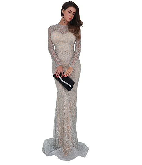 Missord Women s O Neck Long Sleeve Pattern Glitter Slim Maxi Elegant Dress  FT8581 Silver S 447e4a1080ea