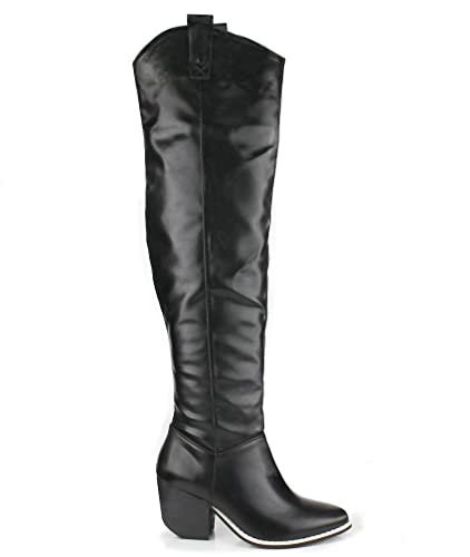 Amazon.com | Thigh High Western Cowboy Boots Women's shoes black ...