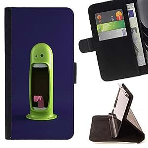 BullDog Case - FOR/LG Nexus 5 D820 D821 / - / cool funny green monster scream tongue teeth /- Monedero de cuero de la PU Llevar cubierta de la caja con el ID Credit Card Slots Flip funda de cuer