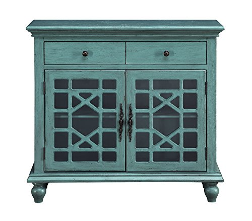 Birch Media Storage Cabinet - Treasure Trove 17318 Two Drawer Two Door Cabinet, Bayberry Blue