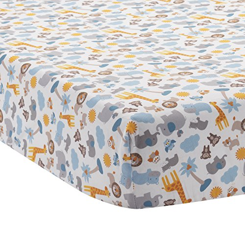 o By Two Noah's Ark Fitted Crib Sheet, Blue/Gray (Animal Ark Crib)