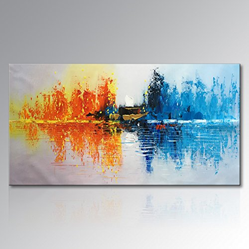 Seekland Art Hand Painted Abstract Canvas Wall Art Large Oil Painting Modern Texture Artwork Home Decor Wall Decor Landscape Picture No Frame (72''W x 36''H) by Seekland Art