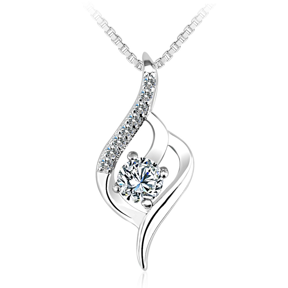 OUXi Sterling Silver Unique Design Diamond Pendant Necklace with Cubic Zirconia for Women