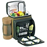 Picnic at Ascot Insulated Picnic Basket/Cooler Fully Equipped for 2 with Blanket -  Forest Green