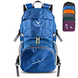 Pokarla Foldable Durable Travel Hiking Backpack 35L Ultra Lightweight Packable Carry On Daypack Unisex for Camping/Outdoor Sports Blue