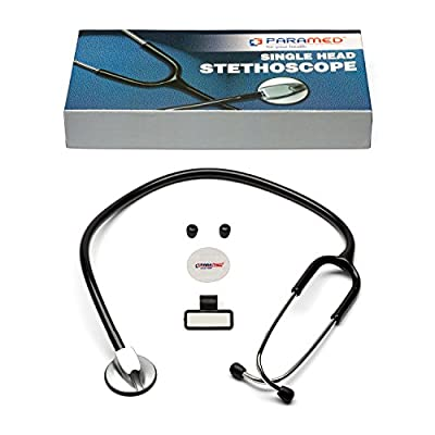 """Classic Single Head Cardiology Stethoscope for Medical and Clinical Use by Paramed - Suitable for Nurse Men Women Pediatric Infant - 22"""" Black"""