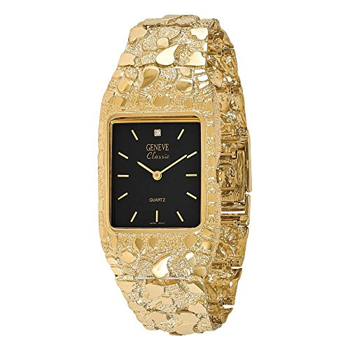14k Mens Squared Black 27x47mm Dial Solid Nugget Watch, Best Quality Free Gift Box