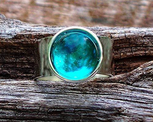 Recycled Vintage Mason Jar Glass Gem Adjustable Ring
