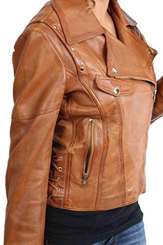 Cuir Souple Véritable de Dames Biker Style Aménagée Croix Zip Veste Holly Bronzer