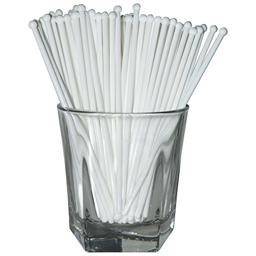 Royer 6 Inch Round Top Swizzle Sticks, Set of 48, White - Made In USA