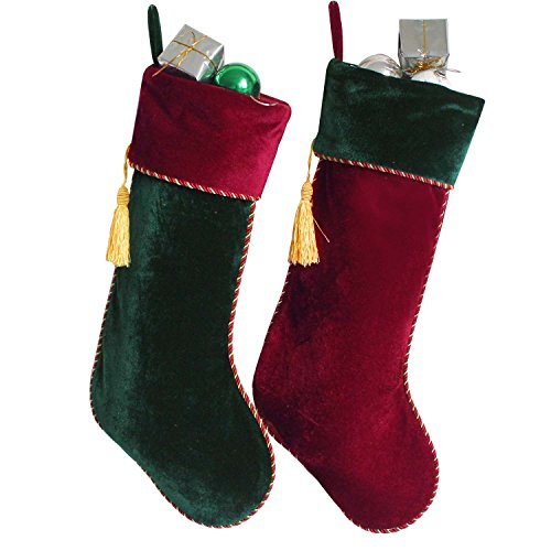 - Gireshome Set of 2 pcs Red & Green Velvet Stocking Tassel Decoration Christmas Stocking Xmas Tree Decor Festival Party Ornament 10