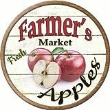 Farmers Market Apples Novelty Metal Circular Sign C-604