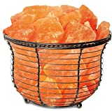 Himalayan Glow salt lamps,1301B Natural Air Purifying Tall round basket Salt lamp  (8.8 lbs) Night Lamp with ETL approved Dimmer Control and salt chunks.