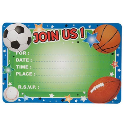 Party Supplies - All-Sports Party Invitations, 10-ct. -