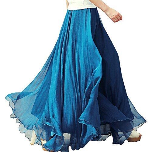 Silk Peasant Dress - Aivtalk Women Maxi Skirt Dress Retro Vintage Peasant Long Boho Ankle Skirts Blue One Size