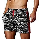 Cuekondy Men 2019 Summer Fashion Camouflage Swim Trunks Beach Board Shorts Casual Quick Dry Running Sports Short Pant(Gray,L)