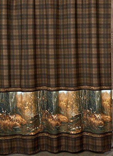 Black Forest Decor Deer Scene Plaid Shower Curtain