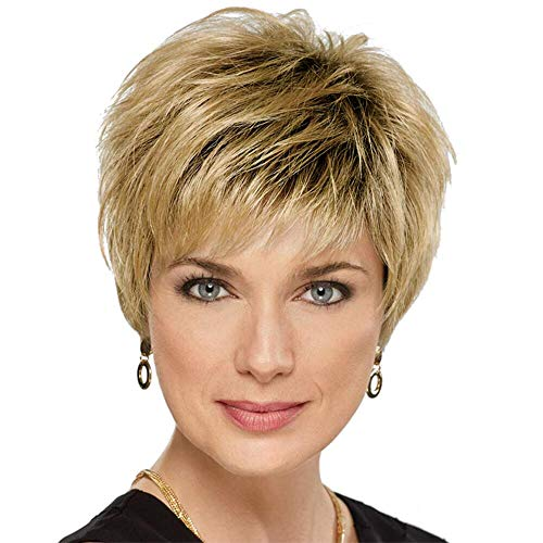 Short Human Hair Wigs for Women Ombre Blonde Wig Natural Pixie Cut Hair Wigs (Short Hair For Women With Thick Hair)