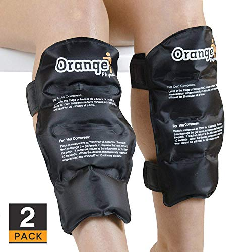 2 x Premium Shin & Calf Hot and Cold Packs with Thick Strong Fastener. Use Cold to Ice Shin Splints, Fracture, Torn Calf Muscles or Just Warm & Loosen Muscles to Reduce Injury Recovery time (by Orange