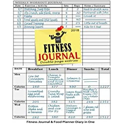 Fitness Journal 2018 : Fitness Journal and Food Planner Diary in One: 12 Month Fitness Planner Workout Book & Food Diary (Fitness Journals 2018) (Volume 3)