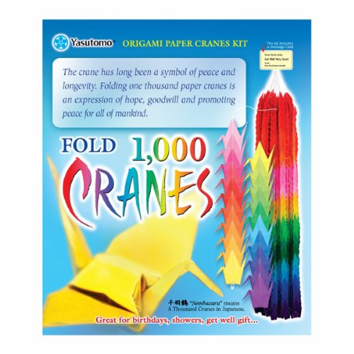 (Yasutomo 1000 Origami Paper Crane Kit, 3 X 3 in, Assorted Color, Pack of 1020, Assorted.)